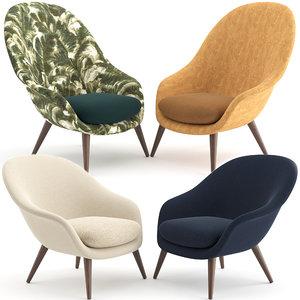 3D chairs bat lounge gubi model