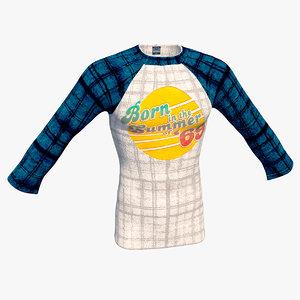 3D model realistic raglan t-shirt men