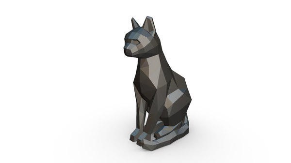 3D printed cat sitting figure