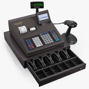 3d model cash register sharp er-a347