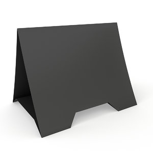 3D black paper tent card model