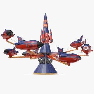 3D rocket carousel amusement park