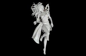 flying fairy flowers 3D model
