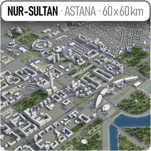3D nur-sultan surrounding area -