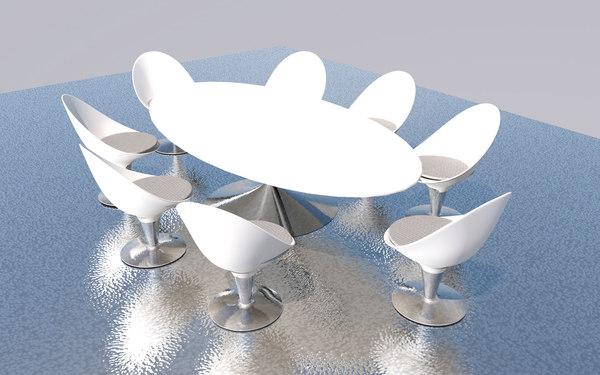 modern dining table set 3D