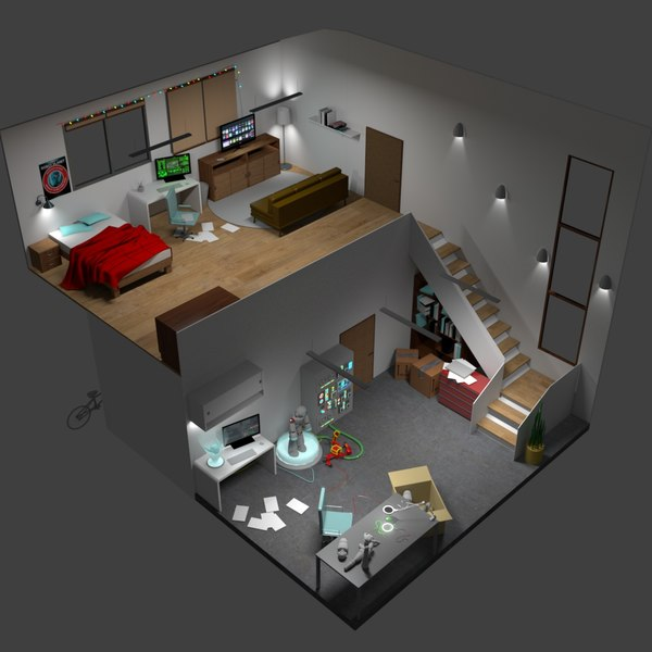 isometric room model