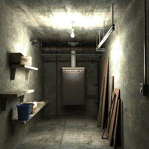 3D boiler room airing cupboard model