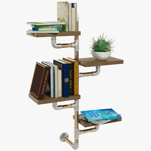 shelf books cactus 3D model