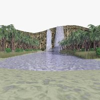 3D tropical oasis waterfall animations