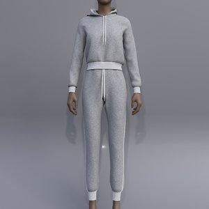 3D female joggers - hoodie