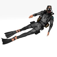 Diver Ivan (RIGGED & ANIMATED)