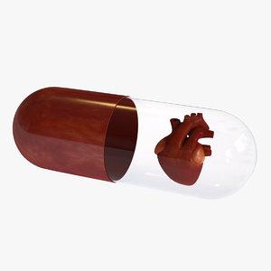 capsule heart art 3D
