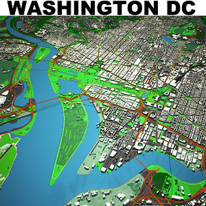 washington dc cityscape 3D