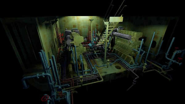 3D ship engine room structure