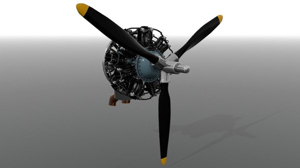 r-1830 twin wasp aircraft engine 3D model
