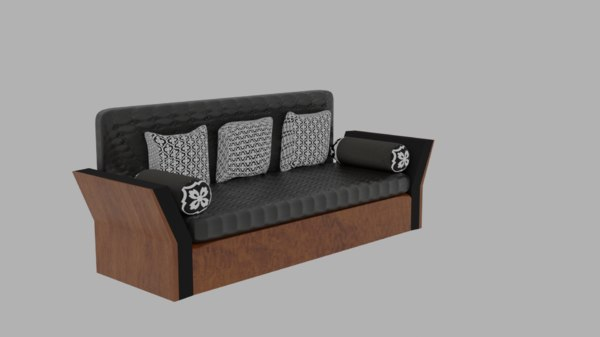 3D black wooden sofa