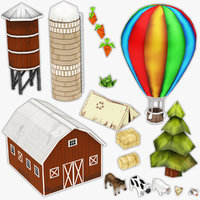 farm straw barn 3D model