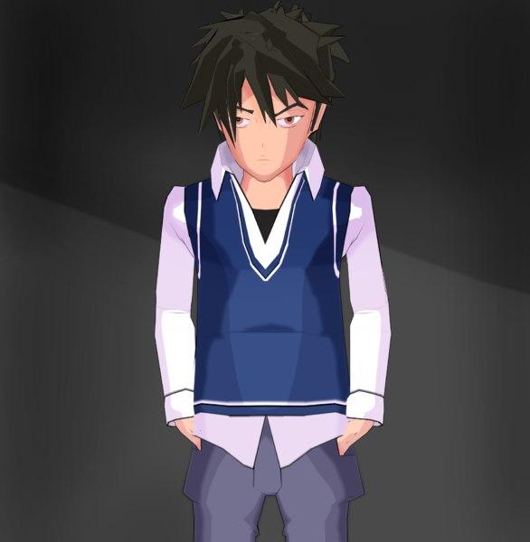 3D model character anime boy