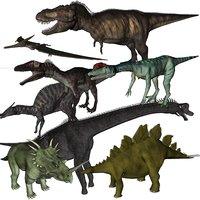 3D big dinosaurs rig - model