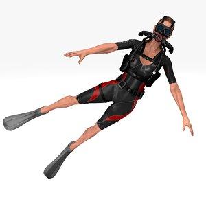3D diver maria rigged