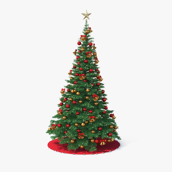 3D model christmas tree golden star