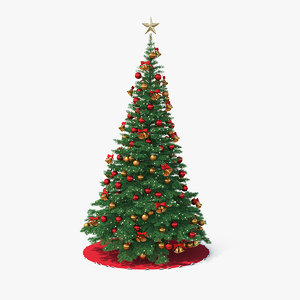 3D model christmas tree golden star