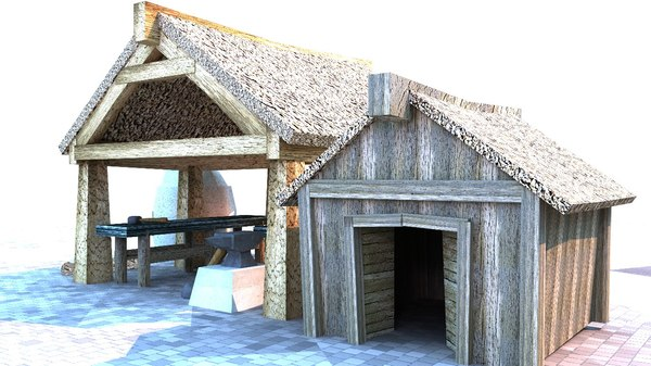3D medieval blacksmith building