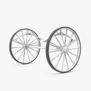 carriage wheels springs 3D model