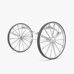 carriage wheels springs 3D model