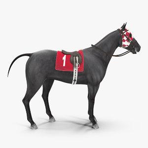 racehorse black animal horse 3D