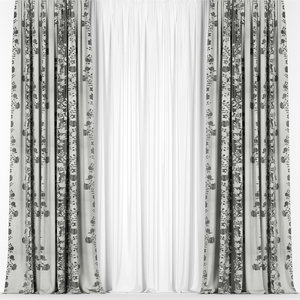 curtains tulle 3D model