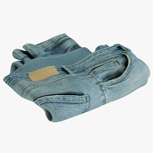 realistic jeans blue v5 3D model