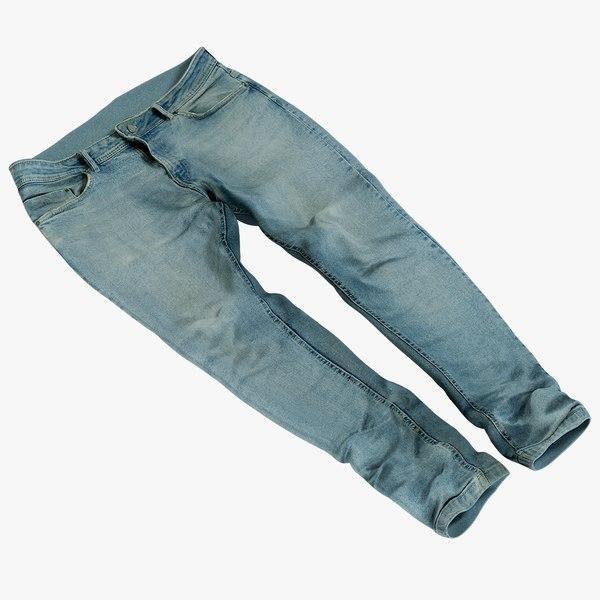 3D realistic jeans blue v8