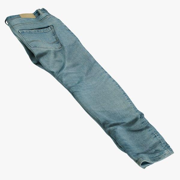 3D realistic jeans blue v6