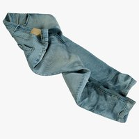 realistic jeans blue v9 3D model