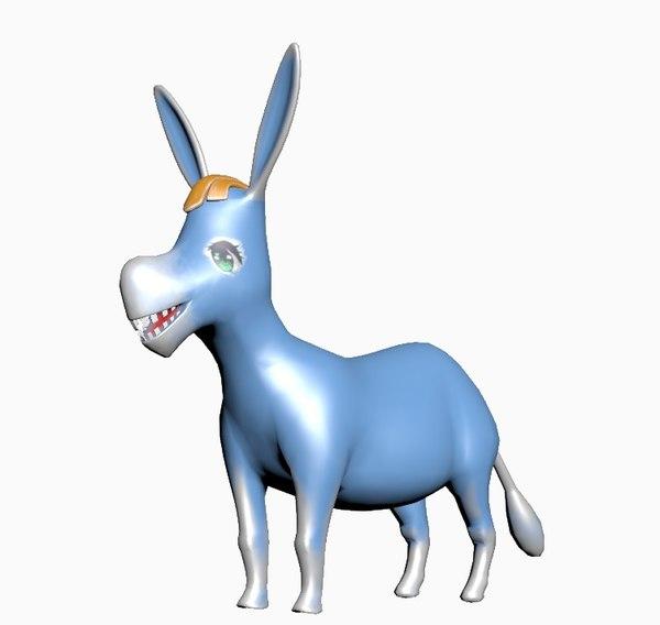 3D blue cartoon donkey model