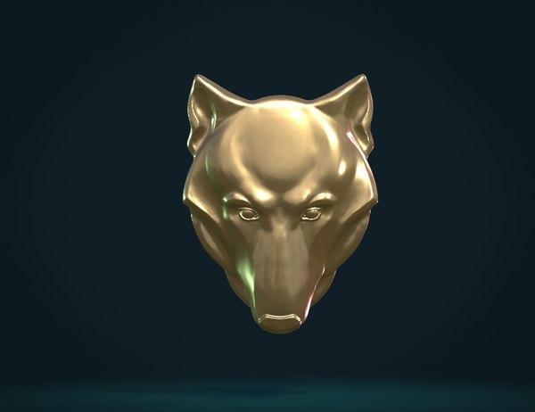 print ready wolf head 3D