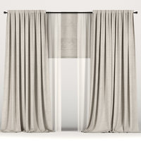 curtains beige tulle 3D model