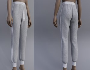 3D model grey sweatpants female joggers