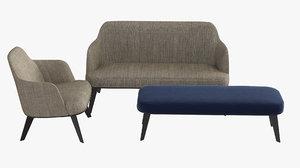 jane fabric armchair armrests 3D