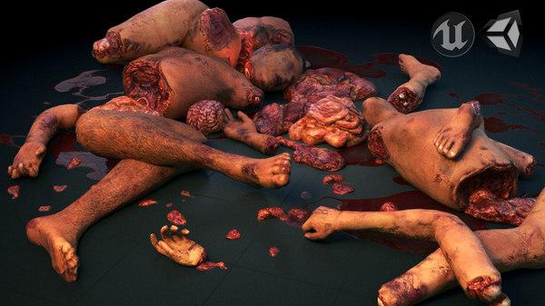 torn human body parts 3D model