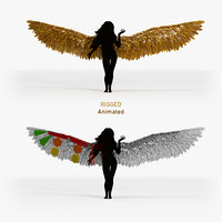 Golden Angel Wings - Animated Rigged