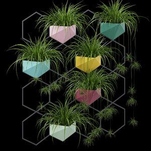 3D vertical pot plant simplu