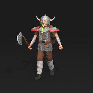 3D cartoon viking warrior model