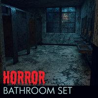 school bathroom interior horror 3D model