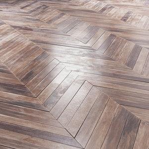 3D aged parquet merbau wood