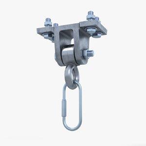 3D swing hanger carabiner model
