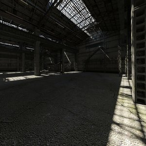 old abandoned industrial hall 3D model
