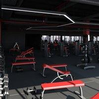 big fitness gym 3D model