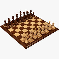 realistic wooden chess set model